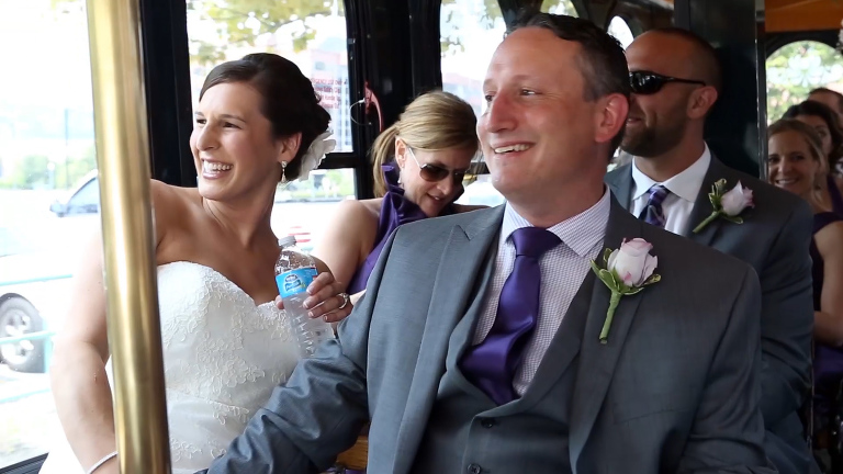 Bride and Groom on Molly's Trolley Pittsburgh