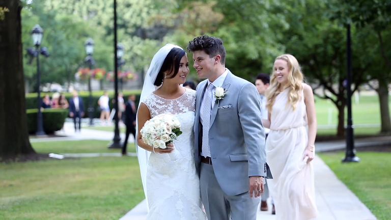 Bride and Groom in Gray Suit outside of Heinz Chapel