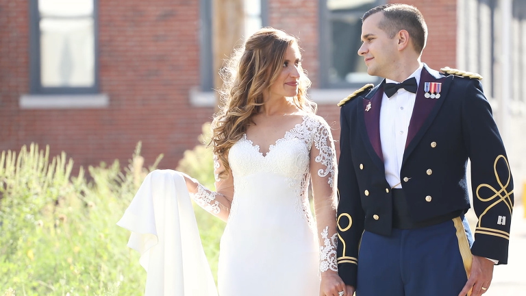 Bride and Groom in Army Uniform Portrait in Pittsburgh Strip District